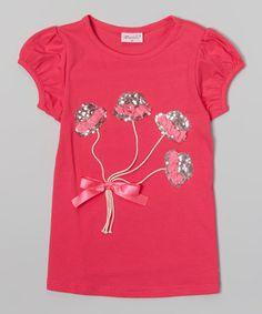 Look at this #zulilyfind! Hot Pink Hat Balloons Tee - Infant & Girls #zulilyfinds