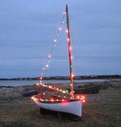 Sailboat with christmas lights