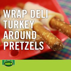 Wrap deli turkey around pretzels for a nutritious school-day snack | Creative lunchbox ideas | Life hacks | Back to School | #JennieO #howto #hack #kidfriendly #snacks