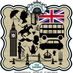 Londra Clipart, Timbro Digitale, Trasferisci immagini o Photoshop Brushes Instant Download