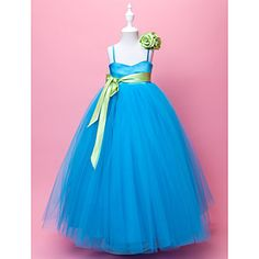 Ball Gown Spaghetti Straps Floor-length Satin And Tulle Flower Girl Dress  – USD $ 89.99