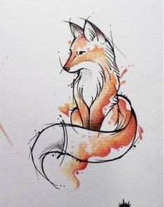 Animal Art, Animal Drawings, Watercolor Fox Tattoos, Drawings, Fox Sketch, Watercolor Fox, Cat Tattoo, Tattoos Gallery, Spirit Animal Tattoo