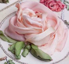 ❥ Rose~ from Blanche Lafitte book {gorgeous!}. #ribbon #embroidery