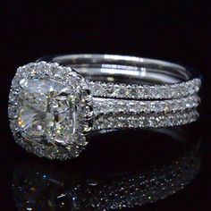 3.71 Ct. Cushion Cut Diamond Engagement Ring Set - Recently Sold Engagement Rings