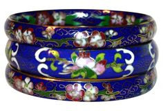 Chinese Cloisonné Bangles, S/3, One Kings Lane