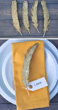 Gold Glittered Feathers | 35 DIY Fall Decorating Ideas for the Home | Fall Craft Ideas for Adults