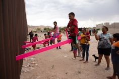 Pink US-Mexico border seesaws named Design of the Year 2020