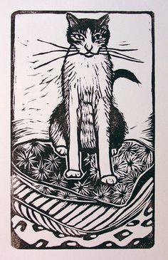 Lino Art, Vintage Logo, Cat Allergies, Special Images, Aqua, Cat Art, Adult Coloring, Printmaking, Original Artwork