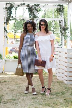 Danielle Prescod and Sally Holmes. ELLE.com photographer Tyler Joe captures the chicest street style moments from Veuve Cliquot Polo Classic in New York City's Liberty Island, where Hollywood's finest gathered to kick off summer.