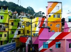 Painted buildings in Rio de Janeiro