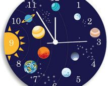 Children Wall Clock, Nursery Room Decor The solar system Boys WALL CLOCK