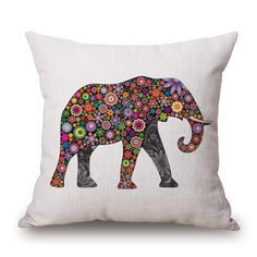 Animals Series Printed Square Cotton Linen Cushion No Filler Decorative Car Sofa Colorfull Elephant Cushion Pillow Throw Pillows
