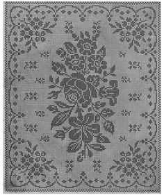 Filet Crochet 11321 World crochet: Tablecloth 84 Filet Crochet Charts, Crochet Cross, Knitting Charts, Thread Crochet, Crochet Motif, Knitting Stitches, Crochet Lace, Crochet Tablecloth Pattern, Cross Stitch Designs