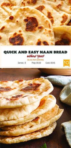 Make this quick and easy naan bread without yeast. This no yeast recipe uses greek yogurt and baking soda to get a light and tangy quick and tasty to make naan bread. and Easy Recipes Quick and Easy No Yeast Naan Bread Recipe - Saving Flavors Nann Bread Recipe, Quick Naan Bread Recipe, Make Naan Bread, Homemade Naan Bread, Recipes With Naan Bread, No Yeast Bread, Easy Bread, Banana Bread Recipes, Easy Naan Bread Recipe No Yeast No Yogurt