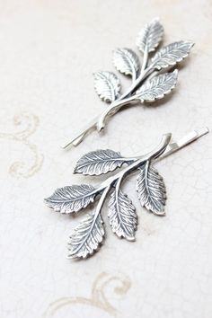 Silver Branch Bobby Pins Antique Silver Leaf by apocketofposies