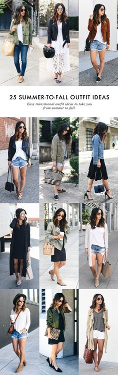 25 Summer to Fall Outfit Ideas #transitionaloutfits #falloutfitideas #transitionalstyle