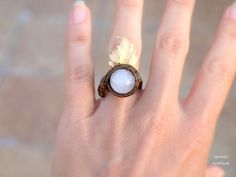 Rose Quartz wire wrapped adjustable ring with leaf by Ianira on Etsy