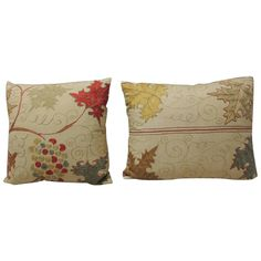 Pair of 19th Century Silk on Linen Embroidery Pillows | See more antique and modern Pillows and Throws at https://www.1stdibs.com/furniture/more-furniture-collectibles/pillows-throws