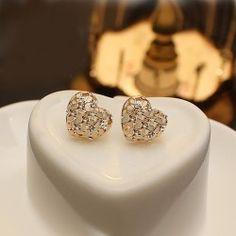 New Flower Heart With Crystal Little Vintage Style Women's Stud Earrings - USD $22.95