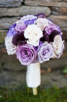 Bridal bouquet in shades of purple and white - photo by Marissa Rodriguez