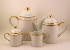 Fitz & Floyd Palais Coffee Pot Teapot Creamer & Sugar Bowl White Gold Trim (##) | eBay
