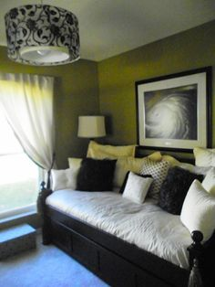 bedroom/office, this is our spare bedroom/office...TOO GREEN????, new bedding..and light...love it... , Bedrooms Design