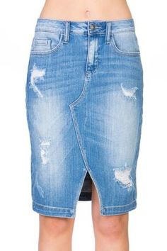 A classic denim skirt never goes out of style and this version is an update on a staple with the open hem and slight distressing. It is available in a medium denim. Denim Pencil Skirt, Denim Skirts, Cute Skirts, Best Jeans, Dress Skirt, Blessed, Cute Outfits, Purses, Outfits