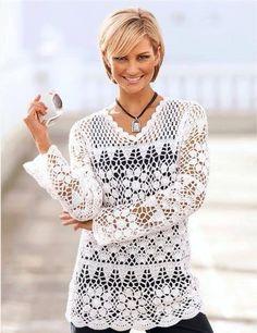 Witte gehaakte trui
