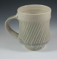 Tall Fluted Mug with White Crystalline and Ash by RaysPottery:
