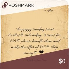❤️💯✅ ~SALE: 3 items for $15!!!...bundle & offer!~ ❤️✅💯 ~SALE: Today: 3 items for $15...just bundle your items, offer $15...and bam!...thats it!...thank you!~ ❤️✅👑 Other