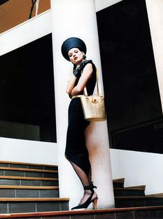 Kate Moss photographed by Helmut Newton for the Yves Saint Laurent Spring 1993 advertising campaign.