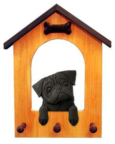 Pug Dog House Leash Holder. In Home Wall Decor Products & Dog Breed Pet Gifts. | eBay $55