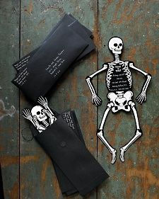 AWESOME! Frightening fetes call for equally spirited invitations. This Halloween,  lure partygoers to your haunted house with a bone-rattling skeleton.
