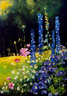 "Pol Ledent; Oil, 2012, Painting ""Cosmos and delphinium"""