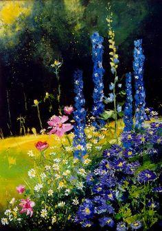 "Saatchi Online Artist: Pol Ledent; Oil, 2012, Painting ""Cosmos and delphinium"""