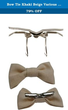 Bow Tie Khaki Beige Various Sizes. This meticulously handcrafted bow tie is made of cotton and polyester. It has a metal clip on and is pre-tied. Ties are great for every day wear. Handcrafted in the USA. Equipped with a solid metal clip that you just open and put on collar and close. Easy on and off for a comfortable and perfect fit every time. Bow tie is available in three sizes, please select the size you want. To clean, gently rub with a damp cloth or hand wash, as needed, and lay on…