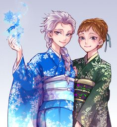 Frozen FINALLY comes to Japan!! by Yudukichi.deviantart.com on @deviantART - Elsa and Anna in kimono. This looks AMAZING.