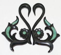 Black Horn Turquoise Organic Tribal Hanger Ear Tapers Plugs Gauges Spirals 2G 4G   eBay