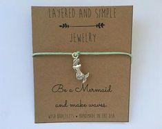 MERMAID Wish Bracelet / Wish Bracelet, Charm Bracelet, Friendship Bracelet, String Bracelet, Inspirational Bracelet, Quote Bracelet, Bulk
