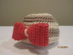 Crochet Baby Hat with Big Bow Detail by BGKBoutique on Etsy, $20.00