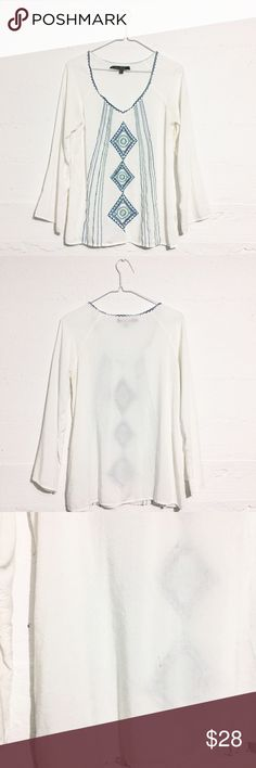 Bohemian Tunic Top Adorable white tunic top. A small 1/2 grey mark on left bottom side of back is almost unnoticeable. Open to offers. No trades. Love Stitch Tops Tunics