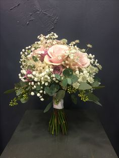 Beautiful Bridal bouquet with Sweet Avalanche, Amnesia&Cool Water roses, astilbe, astrantia, eucalyptus berries, gypsophila,