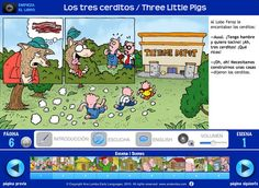 """My Three Little Pigs story for the iPad in Spanish and English (also in French and Chinese). Available from the iPad app store (look for """"Ana Lomba"""")."""