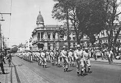 Maria do Resguardo: Av. Rio Branco, desfile de setembro de 1956 (foto autoria provável: Roberto Dornellas ou Jorge Couri). Juiz de Fora MG