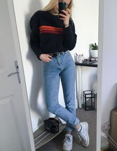 Imagen de fashion, jeans, and outfit casual grunge outfits, hipster girl ou Grunge Style Outfits, Mode Outfits, Winter Outfits, Casual Outfits, School Outfits, Womens Fashion Outfits, Fashion Women, Fashion Trends, Male Fashion