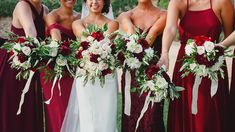 Wedding bouquets with green, white and red.