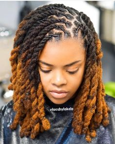 I love everything about this look! Reposted from➡️ ( - Gorgeous RopeTwist & color 😍 ⭐️ Colorist: ⭐️ Stylist: Dreads Styles For Women, Short Dreadlocks Styles, Short Locs Hairstyles, Dreadlock Styles, African Braids Hairstyles, Girl Hairstyles, Curly Hair Styles, Wedding Hairstyles, Natural Dreads