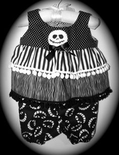 Baby Gothic Boutique Dress with Bloomers Custom Made NightMare BeFoRe ChRisTmAs JaCk SKeLLiNgToN  3-6 Mos