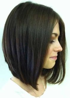 Images Of Inverted Long Bob Hairstyles by earline Angled Bob Hairstyles, Inverted Bob Hairstyles, Long Bob Haircuts, Girl Haircuts, Hairstyles With Bangs, Straight Hairstyles, 2018 Haircuts, Hairstyles Pictures, Style Hairstyle