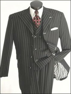Mens Black Red Stripe Gangster Style Zoot Suit by Vittorio St ...